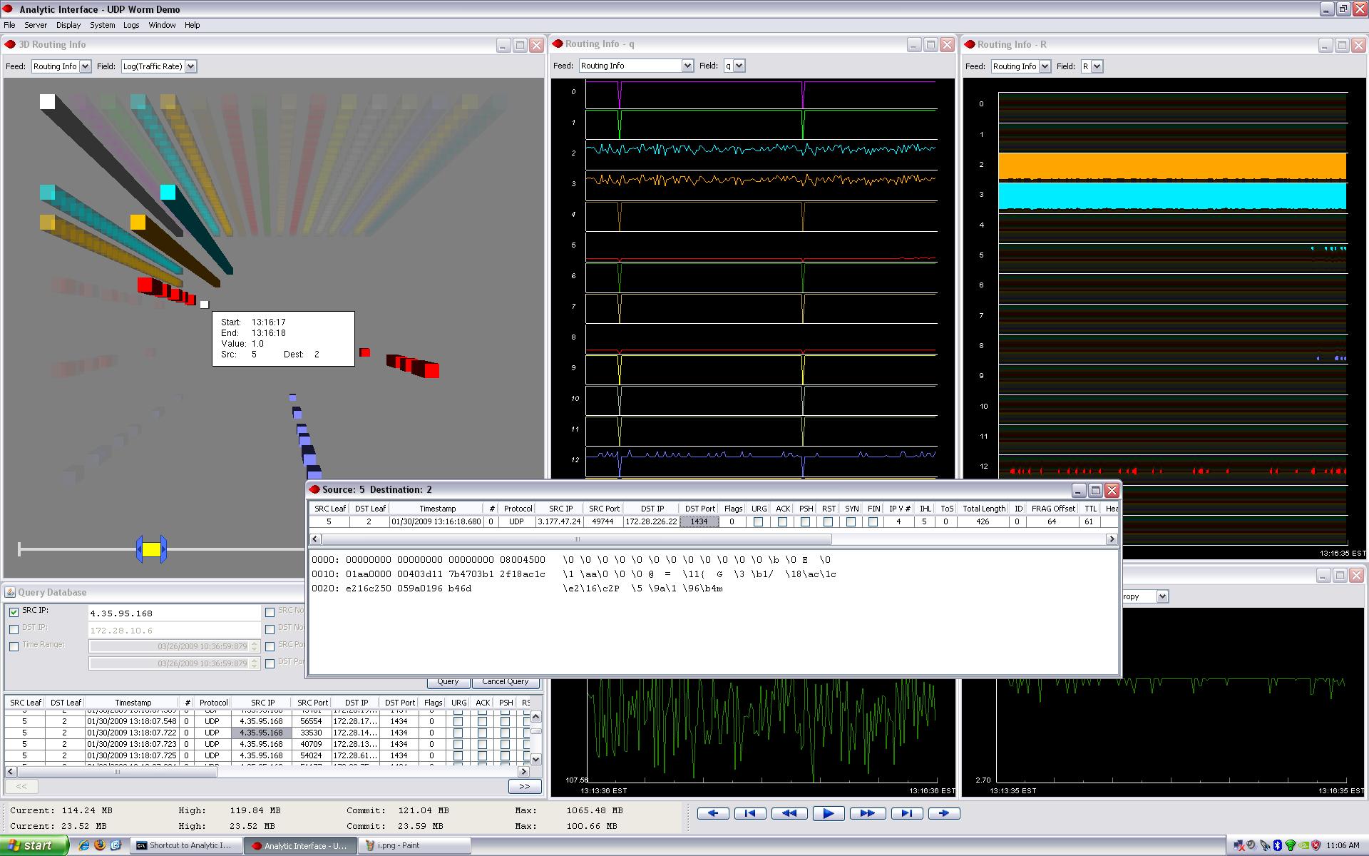 Equilibrium Networks UI screenshot showing Slammer worm amongst all UDP/ICMP traffic on a gigabit network testbed