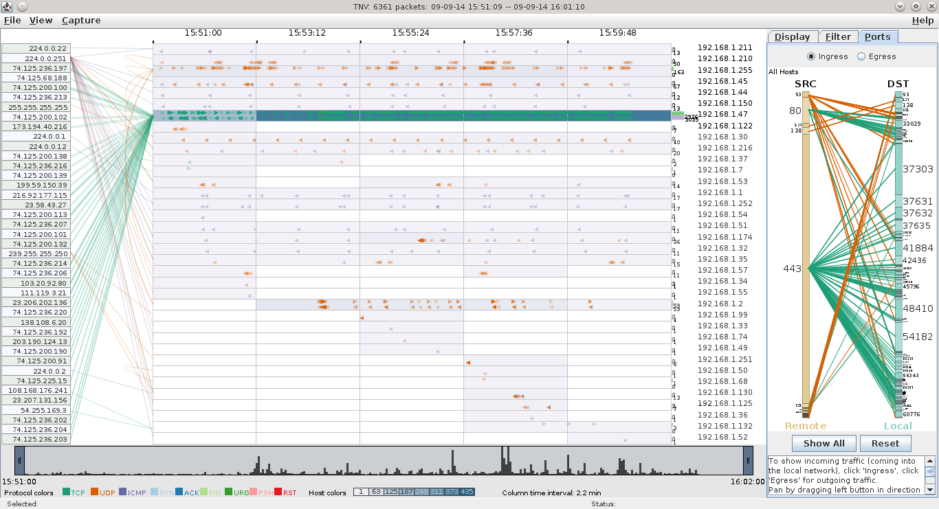 IPv4 LAN Traffic on a host visualized with tnv